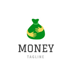 Money bag icon isolated hand holding green vector