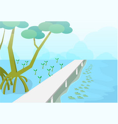 Mudskipper in mangroves forest nature art vector