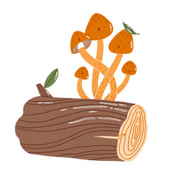 mushrooms on a log characters vector image