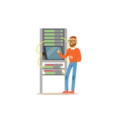 network engineer administrator working in data vector image