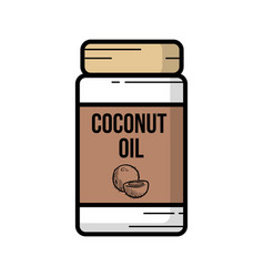 Outline of a jar coconut oil vector