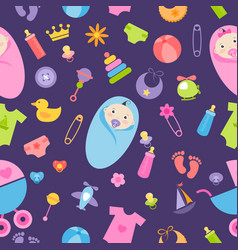 Pattern with baby girl and boy elements vector