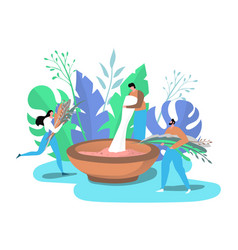 people with green organic plants making natural vector image