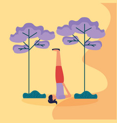people yoga outdoor flat design image vector image