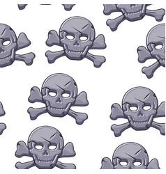 pirate skull seamless pattern stone black mark vector image