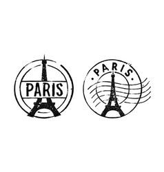 Postal vintage stamps paris - france vector