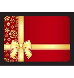 Red gift card with golden snowflakes and ribbon vector