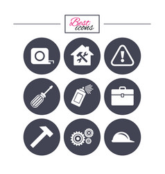 repair construction icons helmet screwdriver vector image