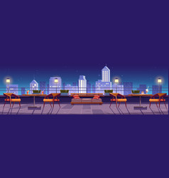 restaurant at night rooftop terrace on city view vector image