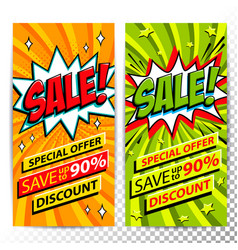 Sale web banners set of pop art comic sale vector