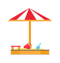 Sandbox and umbrella striped tent with sand vector