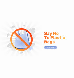 Say no to plastic bags banner vector