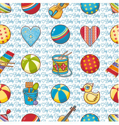 seamless pattern baby toy cartoon style abstract vector image