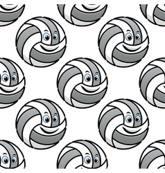 Seamless pattern of cartoon volleyballs vector