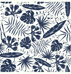 Seamless pattern with tropical plant leaves vector
