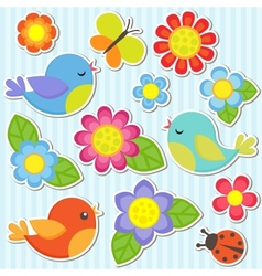 set flowers and birds vector image