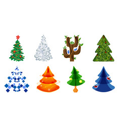 set of icons of christmas trees in different vector image
