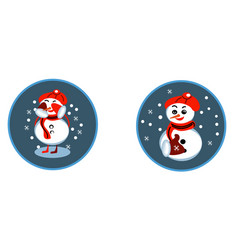 set of winter holidays snowman cheerful snowmen vector image
