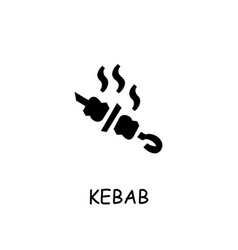 Shish kebab flat icon vector