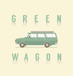 Side View Of Green Wagon vector