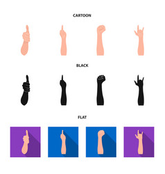 sign language cartoonblackflat icons in set vector image