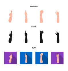 Sign language cartoonblackflat icons in set vector