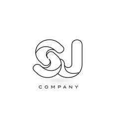 sj monogram letter logo with thin black monogram vector image