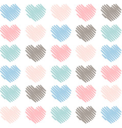 Sketched artistic hearts in soft colors background vector