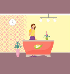Spa salon reception woman receptionist vector