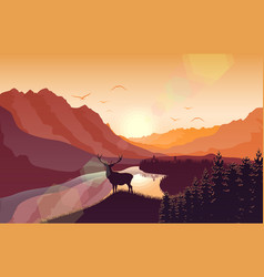 Sunset mountain landscape with deer vector
