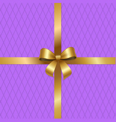 Tied gold bow on crossed ribbons center of vector