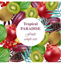 tropical paradise fruits avocado papaya kiwi vector image vector image