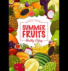 tropical sweet fruits poster vector image