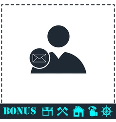 User mail icon flat vector