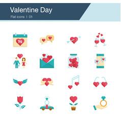 valentine day icons flat design vector image