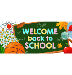 welcome back to school cartoon poster vector image