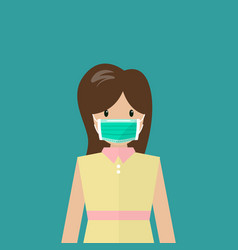 Woman wearing medical mask vector