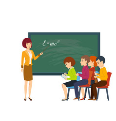 young woman in classroom teaches students vector image