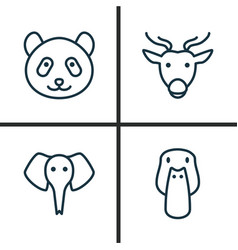 Zoo icons set collection of duck moose trunked vector