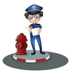 A police officer beside the hydrant vector image vector image