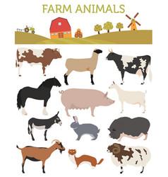 Animal farming livestock cattle pig goat ship vector