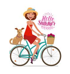 beautiful girl on bike perfect getaway vacation vector image