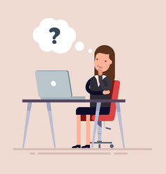 businesswoman or an employee sitting with laptop vector image