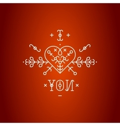 Love card with line romantic elements vector image vector image