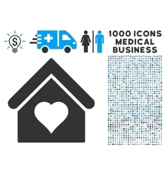Love House Icon with 1000 Medical Business Symbols vector image vector image