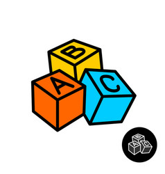 abc blocks with letters icon vector image