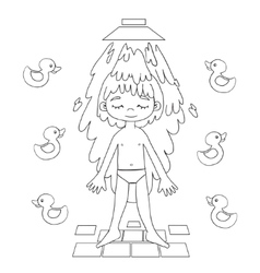 Boy takes a shower contour drawing vector image