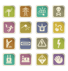 high voltage web icons vector image