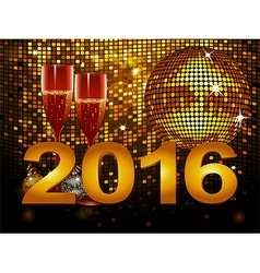 2016 New Year background with champagne glass and vector image vector image