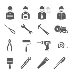 Construction workers tools black icons set vector image vector image